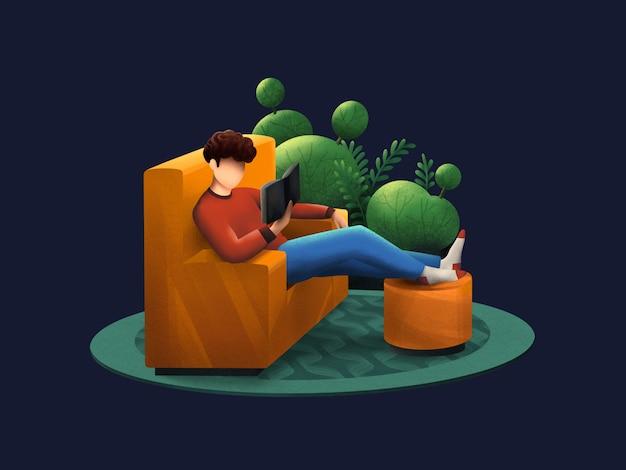 Il ragazzo che riposa e ha letto un libro sull'illustrazione del sofà
