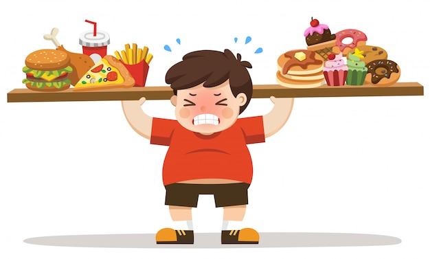 Il ragazzo corpo malsano dal mangiare cibo spazzatura. concetto di stile di vita malsano.