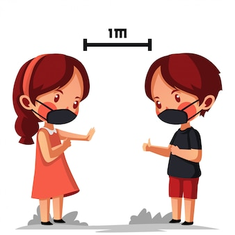 Il ragazzo e la ragazza indossano una maschera che ottengono un allontanamento sociale e un allontanamento fisico