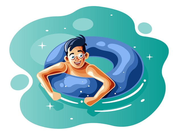 Il ragazzo nuota con la boa d'anello