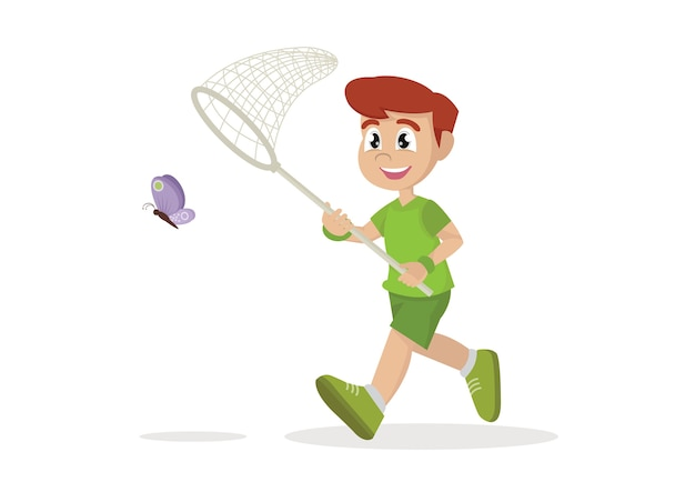 Il ragazzo sta correndo con la farfalla.