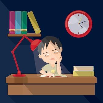 Il ragazzo sta leggendo molti libri durante la notte. design del personaggio.