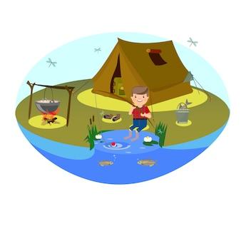 Il ragazzo sta pescando sul lago. campeggio nella radura e falò