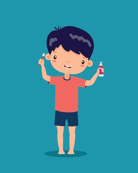 Il ragazzo sta sorridendo, felice. e sono in possesso di uno spazzolino da denti e dentifricio in entrambe le mani, cartone animato vettoriale.