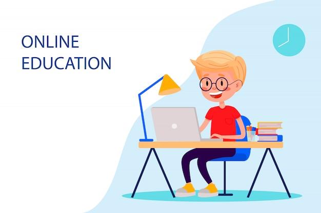 Il ragazzo sta studiando online con il portatile al tavolo. illustrazione piatta vettoriale per siti web.