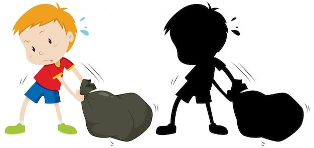 Il ragazzo trascina il sacco della spazzatura nero a colori e la sua silhouette