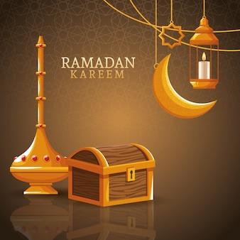 Il ramadan kareem con la luna calante e l'arte islamica