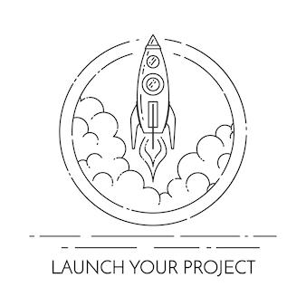 Il razzo decolla. isolato su sfondo bianco
