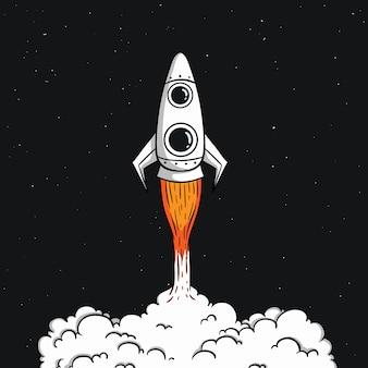 Il razzo spaziale carino decolla con stile doodle colorato sullo spazio