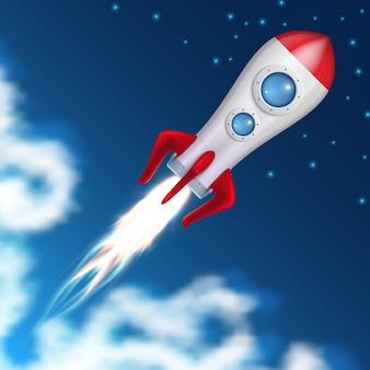 Il razzo spaziale decolla. lancio della nave spaziale di scienza con l'illustrazione di vettore del fuoco di scoppio