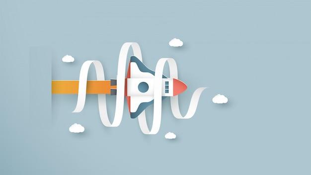 Il razzo sta volando. è arte artigianale per bambini.