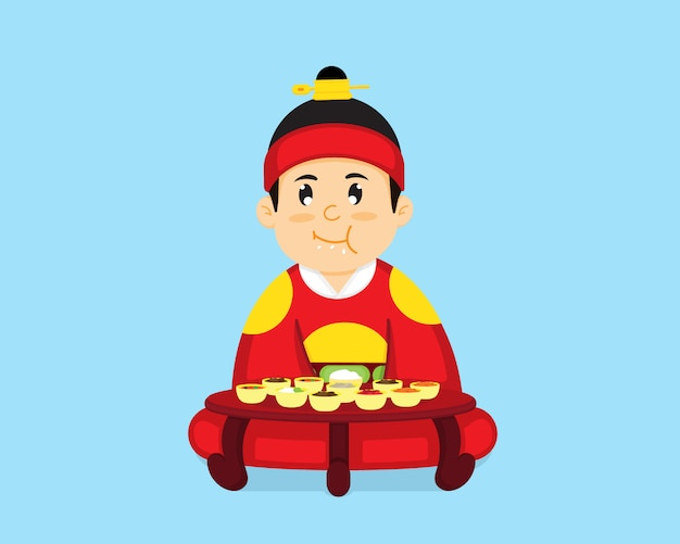 Il re coreano è seduto a mangiare cibo coreano.