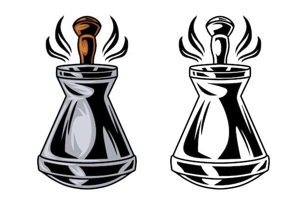 Il retro caffè d'annata del tacchino da cucinare nel cezve ha isolato l'illustrazione di vettore