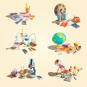 Il retro concetto di scienza ha messo con gli oggetti di istruzione del fumetto