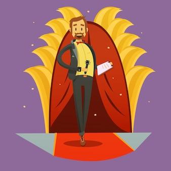 Il retro fumetto dell'immagine del giornalista sta su e l'illustrazione umoristica di vettore di stile del discorso