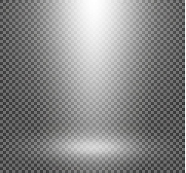 Il riflettore brilla sul palco. luce effetto luce flash uso esclusivo dell'obiettivo. luce da una lampada o un riflettore. scena illuminata.