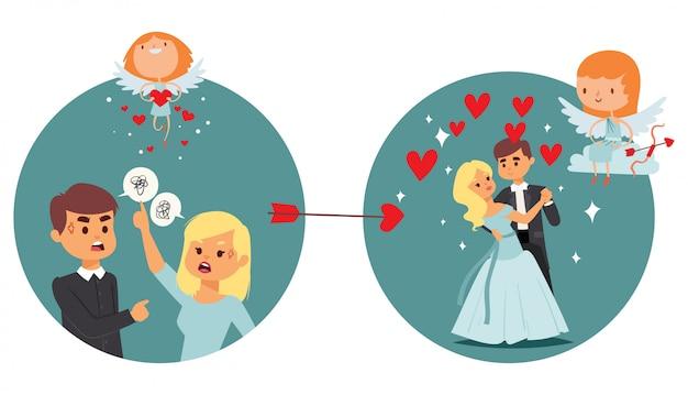 Il risultato del lavoro dei bambini di coupidone, angelo dà l'amore che litiga l'illustrazione delle coppie. cupido risolve incomprensioni tra amanti