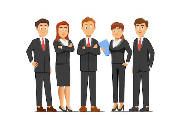 Il riuscito uomo e donna di affari stanno posando davanti alla macchina fotografica e stanno sorridendo, illustrazione di lavoro di gruppo nello stile piano del fumetto.