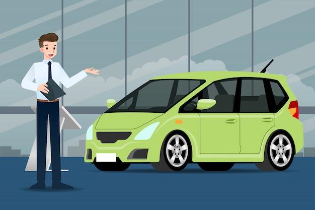 Il rivenditore di auto vende un'auto.
