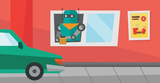 Il robot lavora in un ristorante fast food.