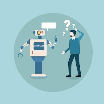Il robot moderno pensa al problema con la tecnologia futuristica del meccanismo di intelligenza artificiale dell'uomo di affari