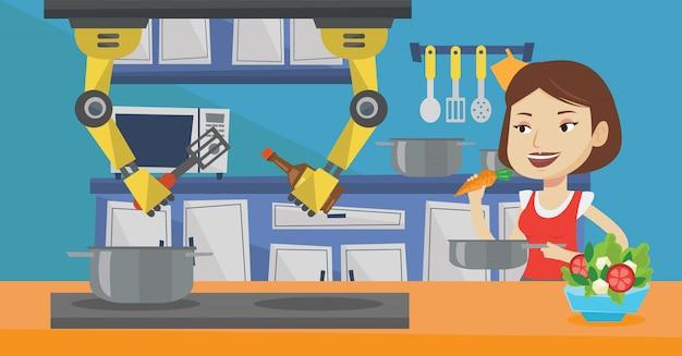 Il robot personale domestico aiuta il proprietario in cucina.
