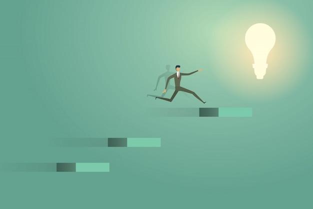Il salto dell'uomo d'affari va sul successo creativo di ambizione della soluzione di concetto della lampadina.