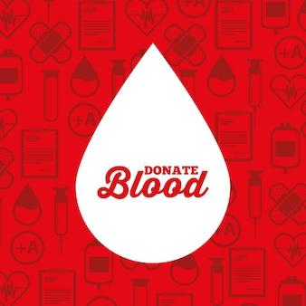 Il sangue bianco di goccia della siluetta dona il fondo medico delle icone