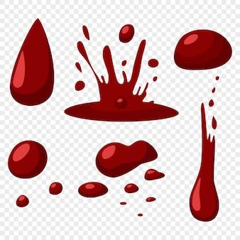 Il sangue cade e spruzza le icone piane di vettore messe