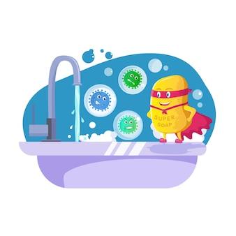Il sapone da supereroe si trova in una posizione vincente di fronte a microbi arrabbiati volanti sul lavandino del bagno
