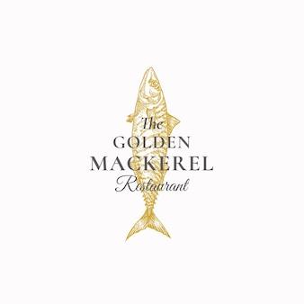 Il segno astratto del ristorante dello sgombro dorato, simbolo o modello di logo.