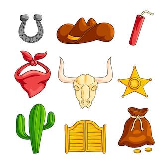 Il selvaggio west con accessori da cowboy ha messo isolato su fondo bianco
