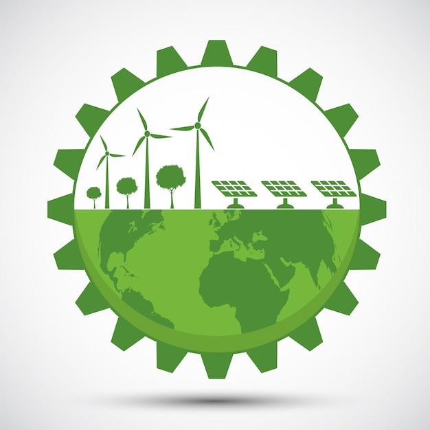 Il simbolo della terra con attrezzi verdi intorno alle città aiuta il mondo con idee eco-compatibili