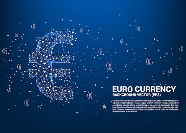 Il simbolo di valuta dell'euro dei soldi di vettore dal punto di polygon connette la linea.