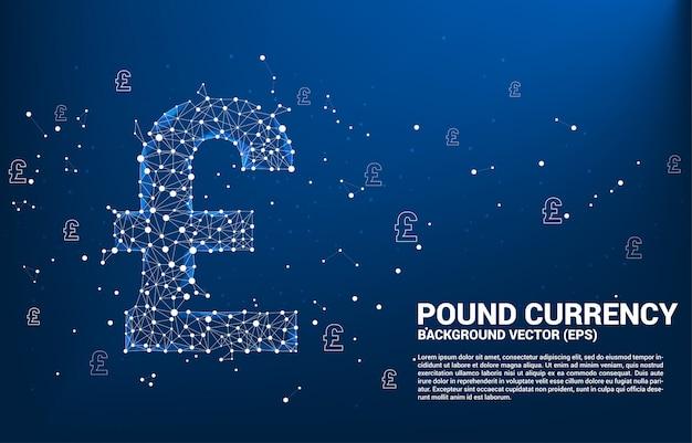 Il simbolo di valuta di sterlina dei soldi di vettore dal punto del poligono collega la linea. concetto per la connessione di rete finanziaria britannica.