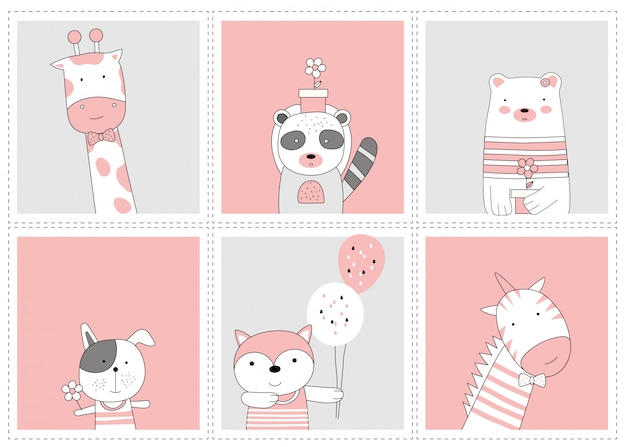 Il simpatico animaletto. schizzo di cartone animato stile animale