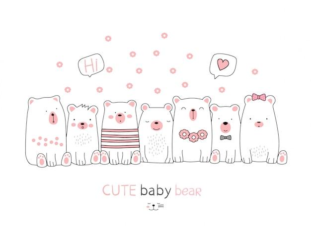 Il simpatico cartone animato animale orso su sfondo bianco. stile disegnato a mano