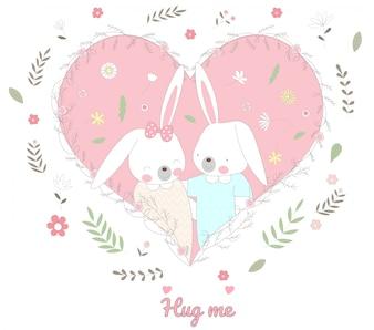 Il simpatico cartone animato animale personaggio del coniglio bambino