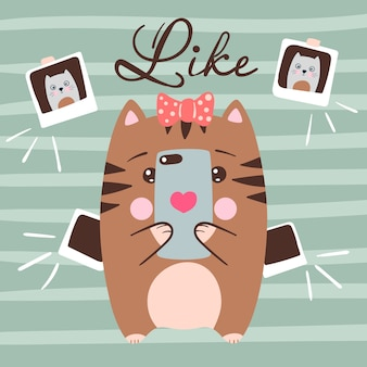 Il simpatico gatto fa selfie. illustrazione divertente idea per t-shirt stampata.