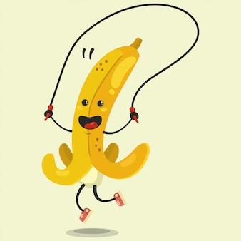 Il simpatico personaggio dei cartoni animati banana fa gli esercizi con la corda per saltare. illustrazione piana del fumetto di vettore isolata. mangiare sano e in forma.