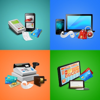 Il sistema di sicurezza biometrico delle carte di pagamento fattura le composizioni del registratore di cassa e dei dispositivi mobili