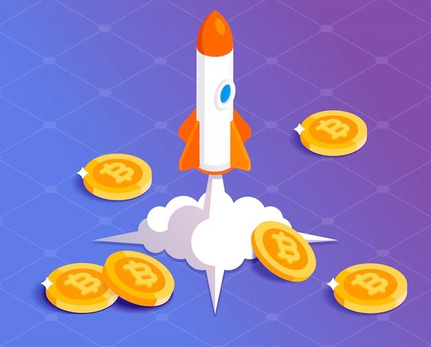 Il sistema finanziario bitcoin cresce illustrazione