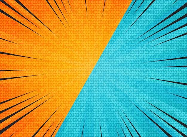 Il sole astratto ha scoppiato il fondo arancio di colori di blu di contrasto