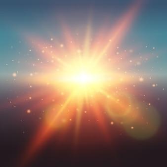 Il sole realistico della molla di incandescenza all'alba o al tramonto con i fasci dei chiarori dell'obiettivo e le particelle vector l'illustrazione