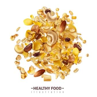 Il superfood realistico di muesli isolato con testo editabile e la miscela fruttata dei cereali su superficie in bianco