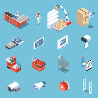 Il supermercato delle icone isometriche future ha messo dell'analizzatore per il prezzo da pagare elettronico delle porte antifurto dello scaricatore del robot dei compratori isolato
