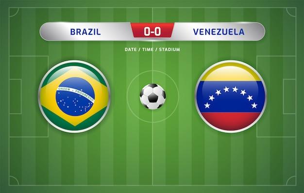 Il tabellone del brasile vs venezuela trasmette il torneo di calcio sudamericano 2019, gruppo a