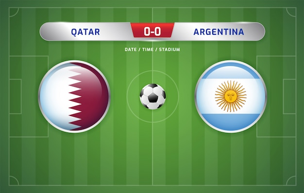 Il tabellone del qatar contro l'argentina trasmette il torneo di calcio sudamericano 2019, gruppo b
