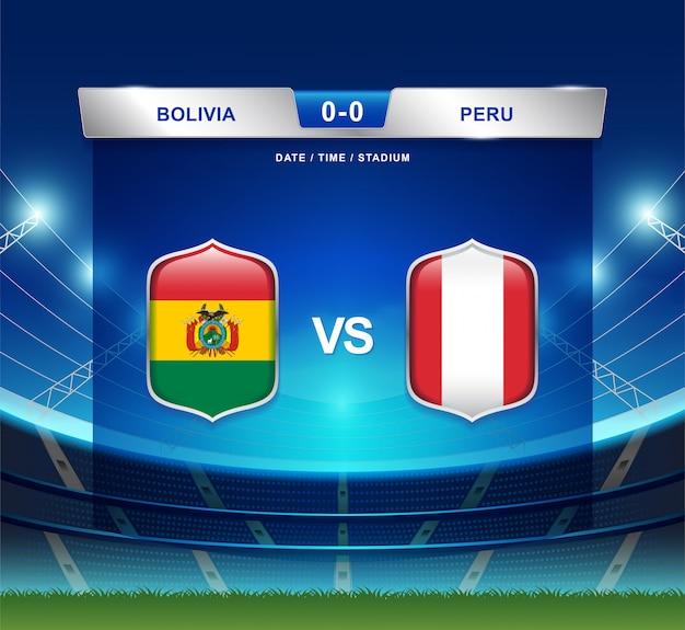 Il tabellone della bolivia contro il perù trasmette l'america di calcio copa