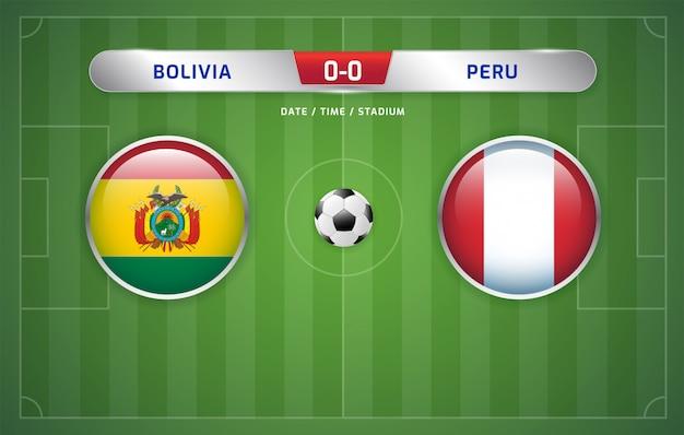 Il tabellone della bolivia vs perù trasmette il torneo di calcio sudamericano 2019, gruppo a